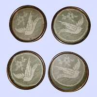 Set of 4 Decorative Brass GLASS and Crochet Bird Floral Themed Coasters 3 inch