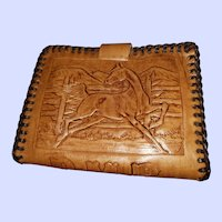 Charming Tooled Leather Westen Theme Pony Horse Saddle Wallet Billfold