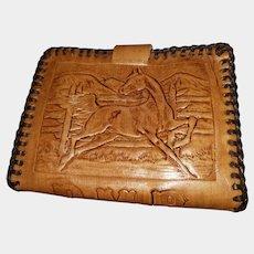 Charming Tooled Leather Westen Theme Pony Horse Saddle Wallet Billfold
