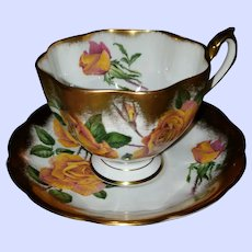 Queen Anne Fine Bone China England Yellow Rose Floral Tea Cup Saucer