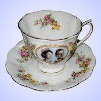 Royal Albert Vintage Bone China 1959 Royal Visit Canada Commemorative Tea Cup Saucer