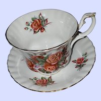 Royal Albert Bone China England Centennial Rose Teacup Saucer Set