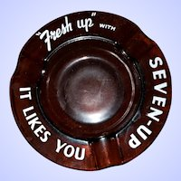 "Vintage Motto Ware Glass Advertising Ashtray ""Fresh Up "" with Seven Up It Like You"
