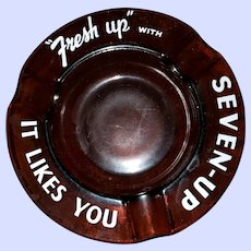 """Vintage Motto Ware Glass Advertising Ashtray """"Fresh Up """" with Seven Up It Like You"""