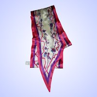Delicate Wing Tip Designer Signed Silk Scarf Demaro Floral Pattern
