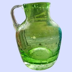GREEN Controlled Bubble Hand Blown Pitcher