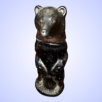 Collectible Amber Glass and Plastic Empty Figural Kodiak Bear Bottle AVON