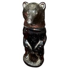 Collectible Amber Glass and Plastic Empty Figural Kodiak Bear Bottle AVON