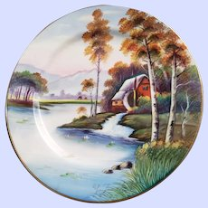 Hand Painted Artist Signed Cabinet Plate Cabin in the Woods