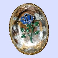 Reverse Painted Intaglio Faceted Crystal Brooch Floral Theme
