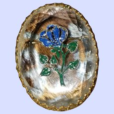 Reverse Painted Intaglio Faceted Crystal Brooch Foral Theme