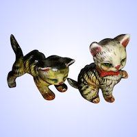 Charming Vintage Tabby Kitty Cat Small Figurines Japan