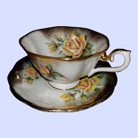 Artist Signed Yellow Rose Brushed Gold Royal  Albert Teacup Saucer