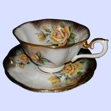 Artist Signed Yellow Rose Brushed Gold Royal  Albert Teacup Saucer