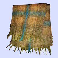 Vintage Glentana All Mohair Pile Wool Fringed Scarf