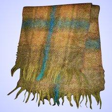 Vintage Glentana All Mohair Pile Wool Fringed Scarf