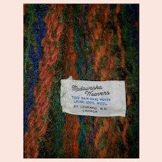 Vintage Madawaska Weavers  St. Leonard N.B. Canada Wool Fringed Scarf Hand Woven
