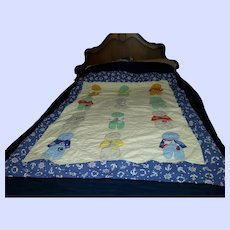 """Sweet Vintage Gently Used Quilt Nautical Child Theme 70"""" by 63 """""""