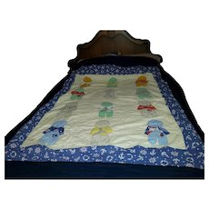 "Sweet Vintage Gently Used Quilt Nautical Child Theme 70"" by 63 """
