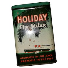 A Collectible Empty Vintage Advertising Vertical Pocket Tin Holiday Pipe Mixture