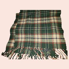 PLAID Fringed Scarf 100% Lambswool Made in Scotland 1981