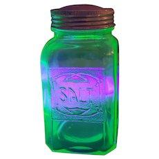 GREEN Depression Uranium Glass Salt Hoosier Style Shaker Glows under UV lite