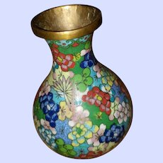 Old Decorative Brass Cloisonne Vase Floral Theme
