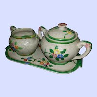 A Beautiful Embossed Hand Painted Ceramic Creamer Sugar Tray Mi Japan