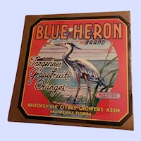 Vintage Paper Advertising Fruit Crate Label Blue Heron Brand  Brooksville Florida