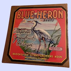Vintage Paper Advertising Fruit Crate Label Blue Heron Brand  Brooksville Florida