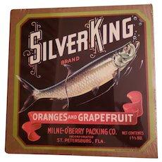 VINTAGE Paoer Fruit Crate Advertising Label Silver King
