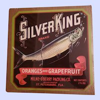 VINTAGE Paper Fruit Crate Advertising Label Silver King