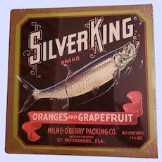 VINTAGE Paper Fruit Crate Advertising Label Silver King