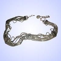 Heavy Decorative Silvertone Metal Faux Coin Medallion Fashion Belt