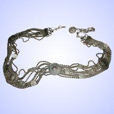Heavy Decorative Silvertone Metal afaux Coin Medallion Fashion Belt