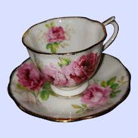 American Beauty Pink Roses Tea Cup Saucer Set Royal Albert England