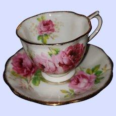 American Beauty Pink Roses Tea Cup Saucer Set Royal Albert England