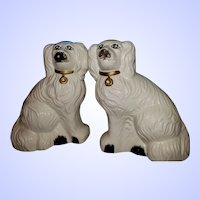 DECORATIVE Mid-century Ceramic Staffordshire Style Mantle Dogs MI Taiwan