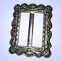 Decorative Embossed Metal Sash Belt Buckle w Floral Theme
