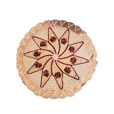 Vintage Crochet Round Table Cloth Maria Veronez BRASIL