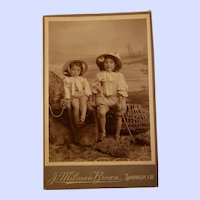 Charming B&W Photography Photo CDV Little Girls with Hats