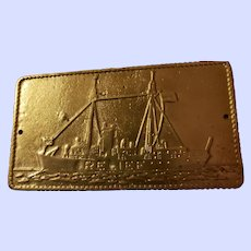 OLD Collectible Brass Metalware NAUTICAL Themed  Plaque  RELIEF