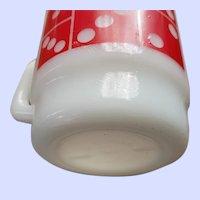 Vintage Milk Glass Mug Domino Theme Anchor Hocking USA