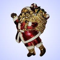 Ho Ho Ho Vintage Figural Santa Claus Enanel Brooch Pin