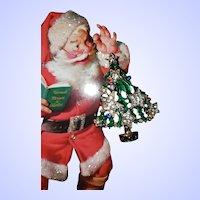 Vintage Christmas Tree Enamel Rhinestone Brooch Pin