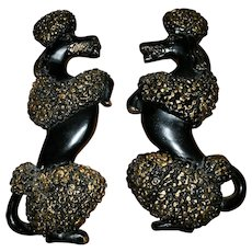 MID-Century Black Poodle CHALKWARE Plaques  9 inches Tall Wall Art Home