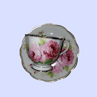 Pretty Vintage Pink Rose Teacup Saucer Set American Beauty Royal Albert