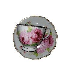 Pretty Vintage Pink Rose Teacup Saucer Set American Beauty Royal Albert