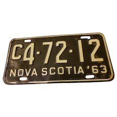 NOVA Scotia Metal License Plate C4-72-12 63