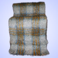 Plaid Fringed Scarf with Original Label All Mohair Pile Hand Crafted Scotland Wool Mohair